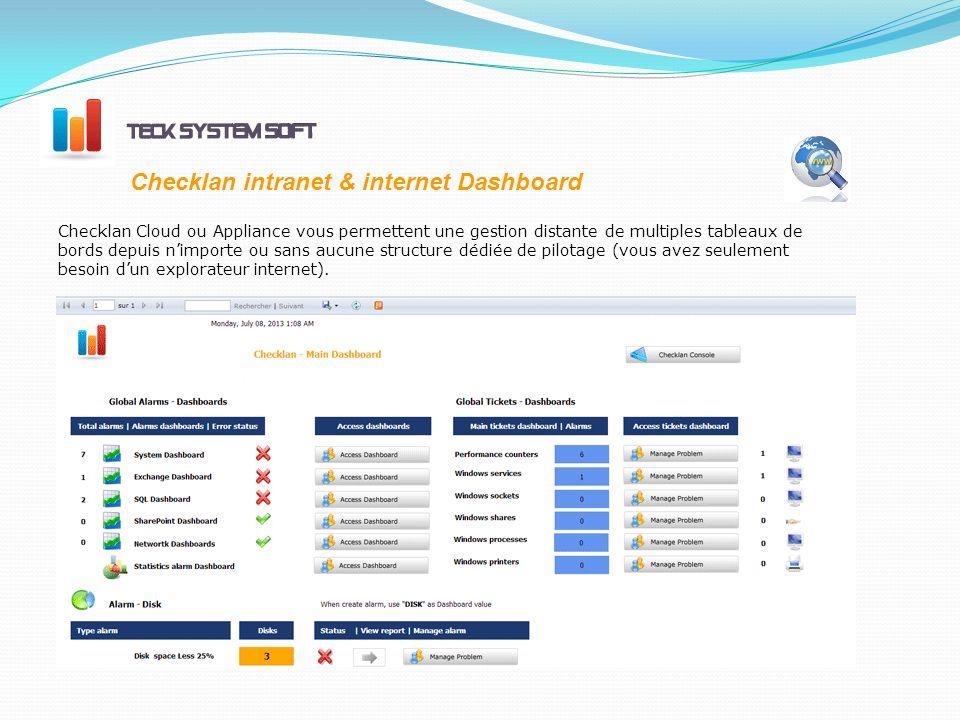 Checklan intranet & internet Dashboard Checklan Cloud ou Appliance vous permettent une gestion distante de multiples tableaux de bords depuis nimporte ou sans aucune structure dédiée de pilotage (vous avez seulement besoin dun explorateur internet).