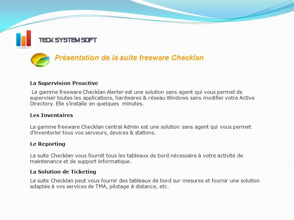 La Solution de Ticketing La suite Checklan peut vous fournir des tableaux de bord sur mesures et fournir une solution adaptée à vos services de TMA, pilotage à distance, etc.