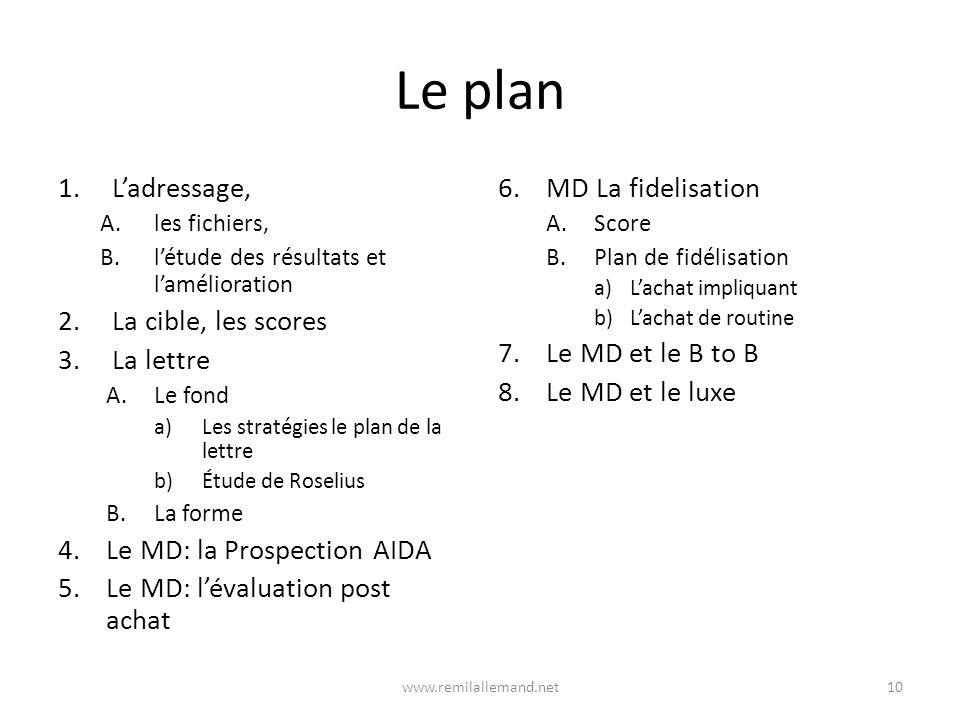Le plan 1.Ladressage, A.les fichiers, B.létude des résultats et lamélioration 2.La cible, les scores 3.La lettre A.Le fond a)Les stratégies le plan de la lettre b)Étude de Roselius B.La forme 4.Le MD: la Prospection AIDA 5.Le MD: lévaluation post achat 6.