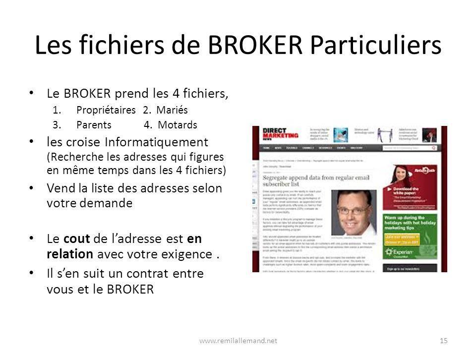 Les fichiers de BROKER Particuliers Le BROKER prend les 4 fichiers, 1.Propriétaires 2.