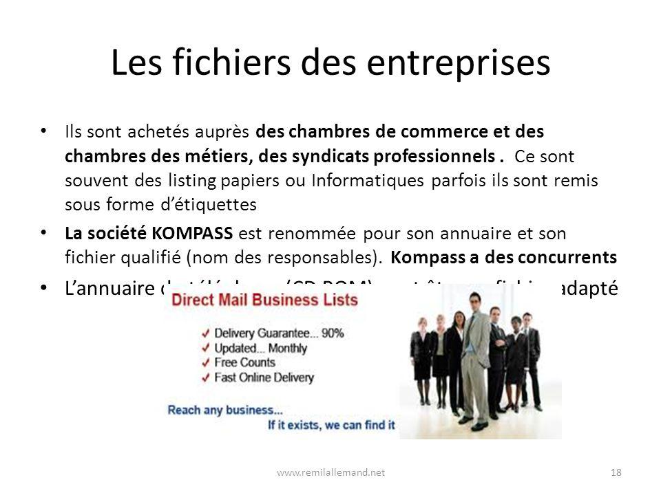 Les fichiers des entreprises Ils sont achetés auprès des chambres de commerce et des chambres des métiers, des syndicats professionnels.
