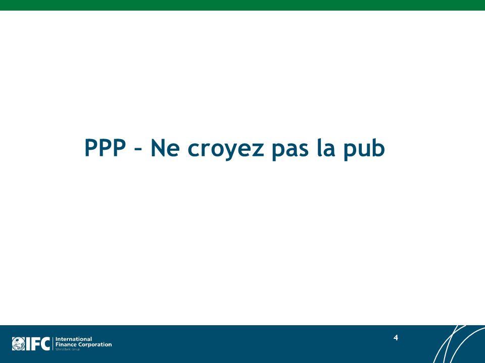 Réduire lécart infrastructurel Les PPP, une part infime de linvestissement total 5 Fourniture totale des services publics « Infrastructure physique » Concessions / privatisation