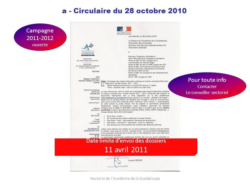 Rectorat de l Académie de la Guadeloupe a - Circulaire du 28 octobre 2010 Campagne 2011-2012 ouverte Pour toute info Contacter Le conseiller sectoriel Date limite denvoi des dossiers 11 avril 2011