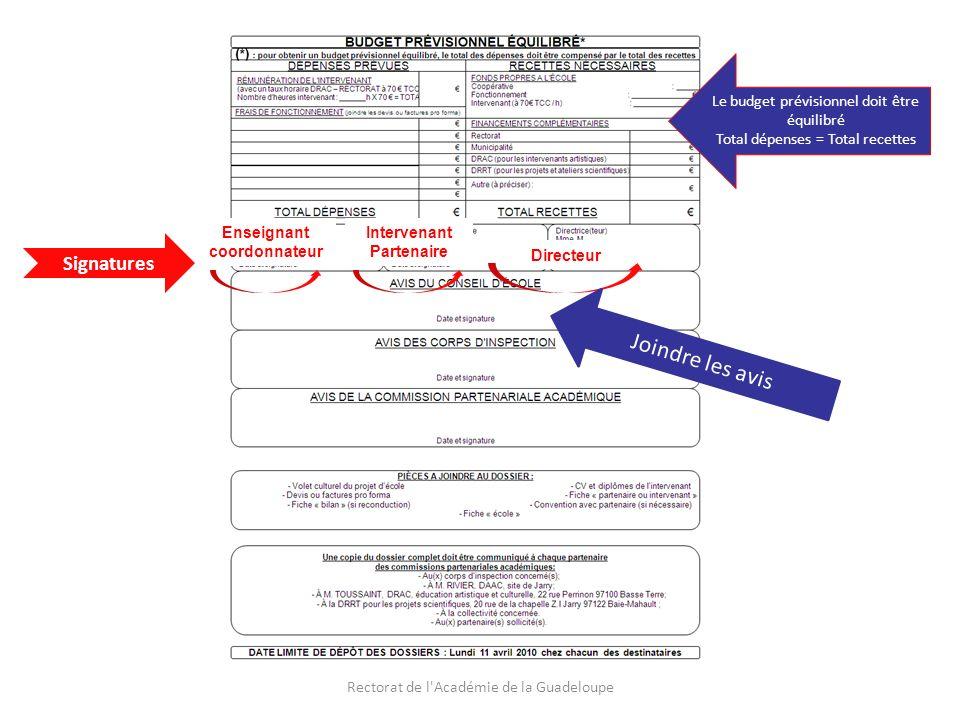 Rectorat de l Académie de la Guadeloupe Le budget prévisionnel doit être équilibré Total dépenses = Total recettes Joindre les avis Signatures Enseignant coordonnateur Intervenant Partenaire Directeur