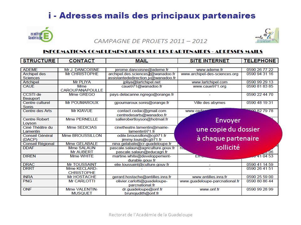 Rectorat de l Académie de la Guadeloupe i - Adresses mails des principaux partenaires Envoyer une copie du dossier à chaque partenaire sollicité