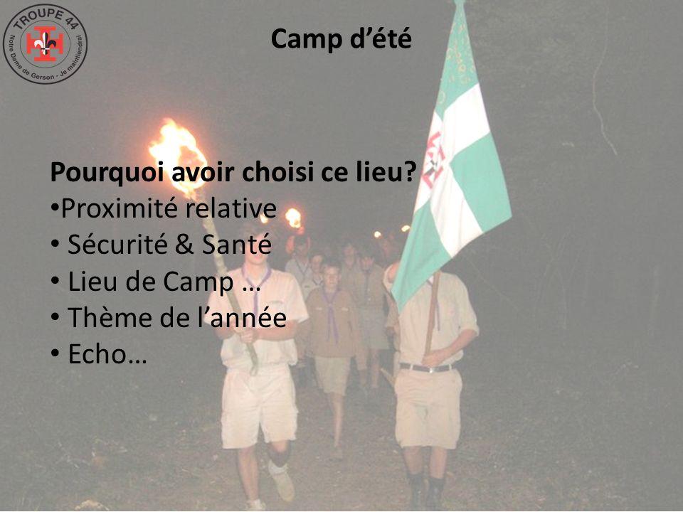 Camp dété Pourquoi avoir choisi ce lieu? Proximité relative Sécurité & Santé Lieu de Camp … Thème de lannée Echo…