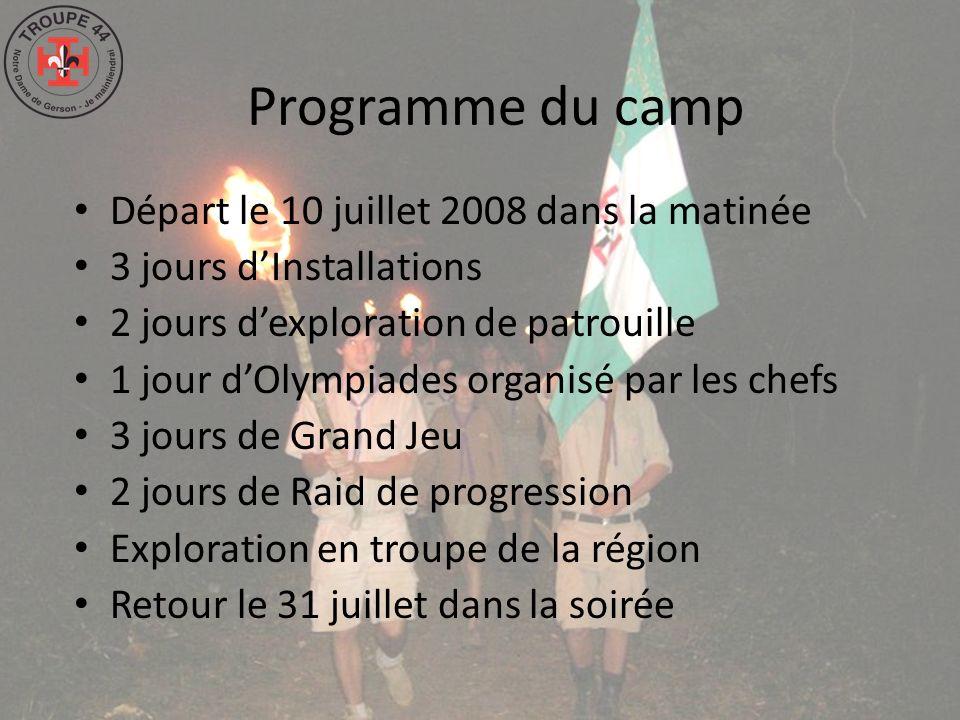 Programme du camp Départ le 10 juillet 2008 dans la matinée 3 jours dInstallations 2 jours dexploration de patrouille 1 jour dOlympiades organisé par