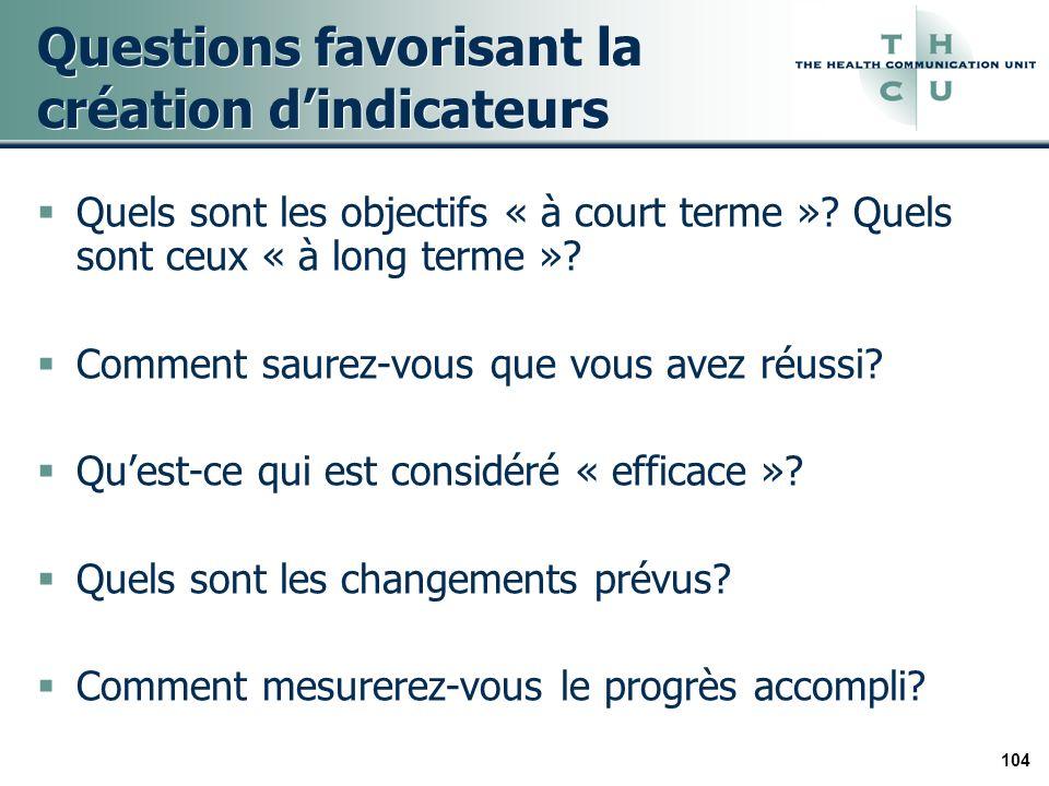 104 Questions favorisant la création dindicateurs Quels sont les objectifs « à court terme »? Quels sont ceux « à long terme »? Comment saurez-vous qu