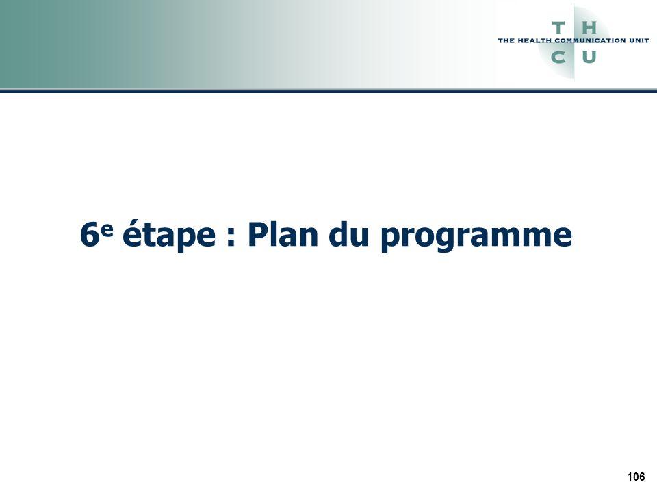 106 6 e étape : Plan du programme