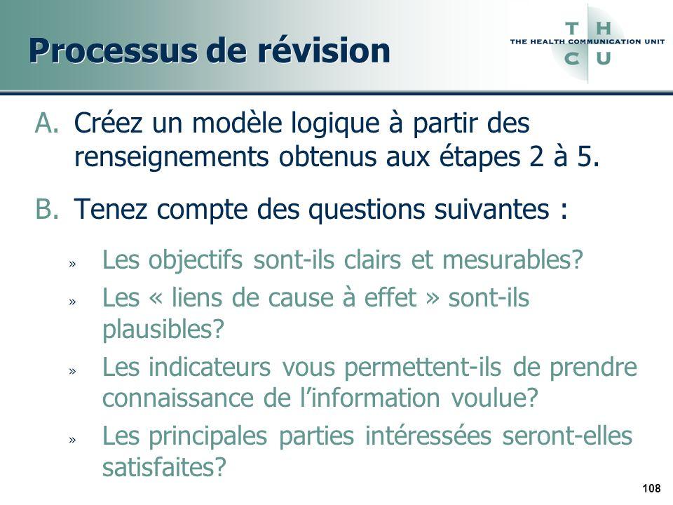 108 Processus de révision A.Créez un modèle logique à partir des renseignements obtenus aux étapes 2 à 5. B.Tenez compte des questions suivantes : » L