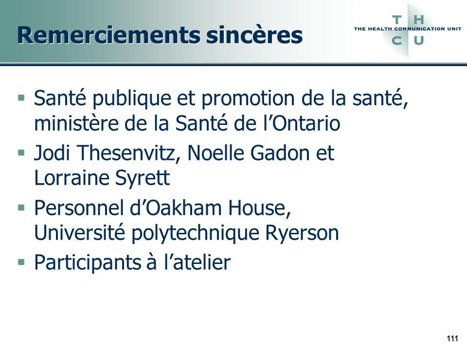 111 Remerciements sincères Santé publique et promotion de la santé, ministère de la Santé de lOntario Jodi Thesenvitz, Noelle Gadon et Lorraine Syrett