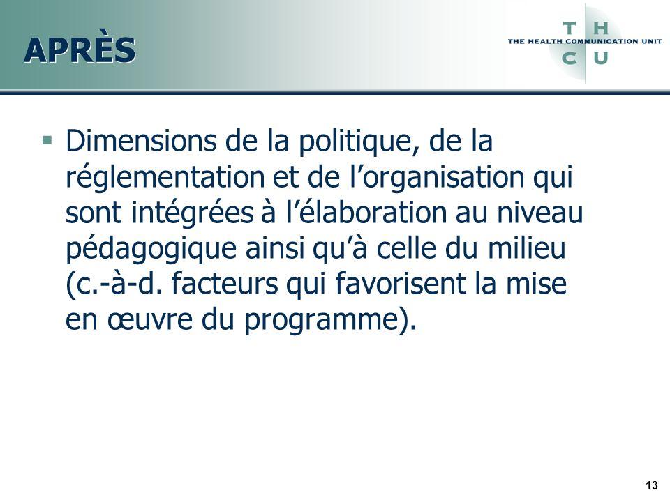 13 APRÈS Dimensions de la politique, de la réglementation et de lorganisation qui sont intégrées à lélaboration au niveau pédagogique ainsi quà celle
