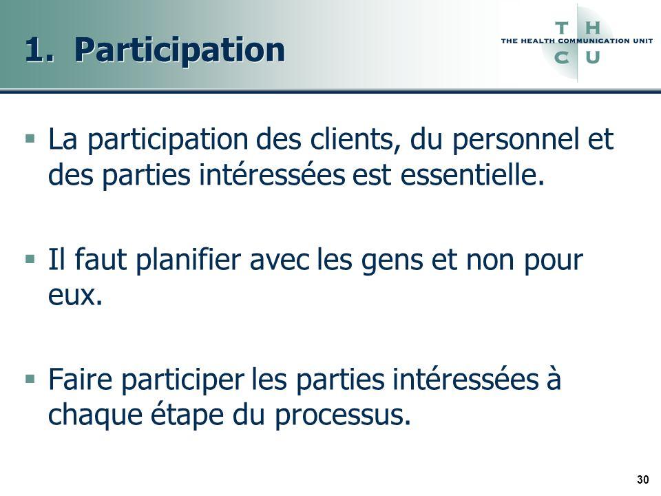 30 1. Participation La participation des clients, du personnel et des parties intéressées est essentielle. Il faut planifier avec les gens et non pour