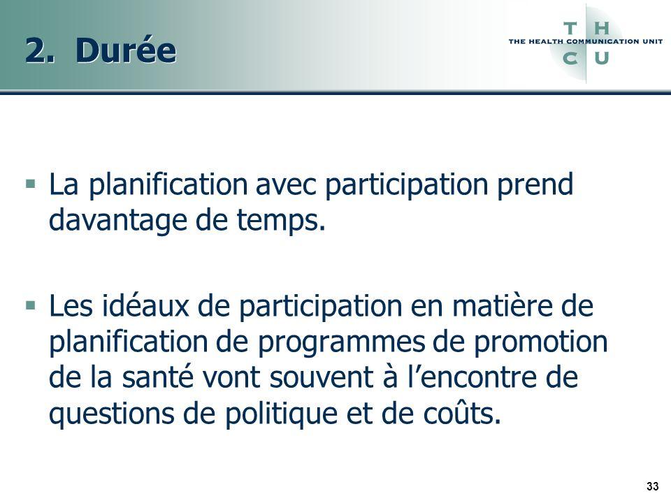 33 2. Durée La planification avec participation prend davantage de temps. Les idéaux de participation en matière de planification de programmes de pro