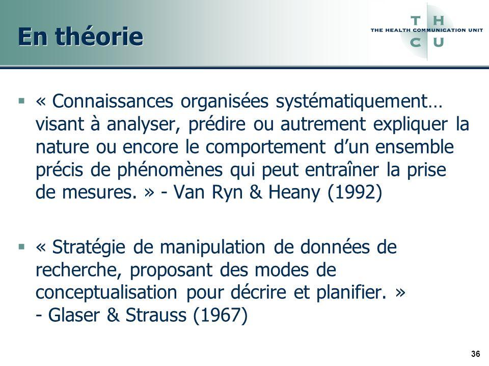 36 En théorie « Connaissances organisées systématiquement… visant à analyser, prédire ou autrement expliquer la nature ou encore le comportement dun ensemble précis de phénomènes qui peut entraîner la prise de mesures.