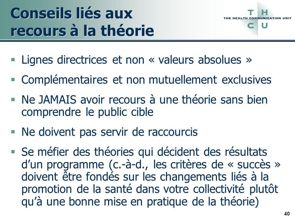 40 Conseils liés aux recours à la théorie Lignes directrices et non « valeurs absolues » Complémentaires et non mutuellement exclusives Ne JAMAIS avoi