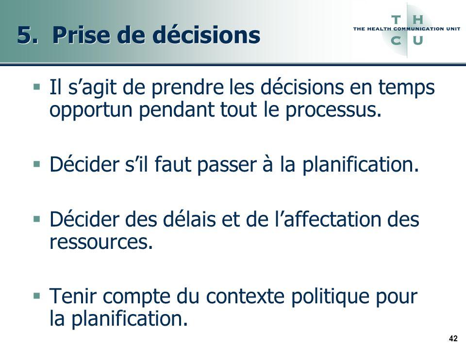 42 5. Prise de décisions Il sagit de prendre les décisions en temps opportun pendant tout le processus. Décider sil faut passer à la planification. Dé