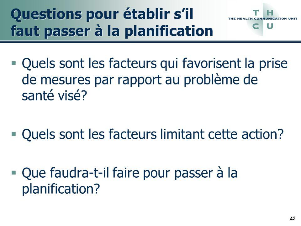 43 Questions pour établir sil faut passer à la planification Quels sont les facteurs qui favorisent la prise de mesures par rapport au problème de santé visé.