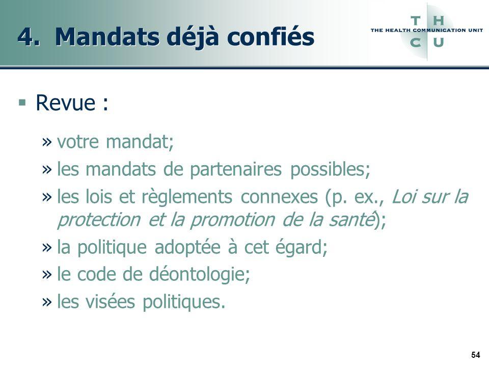 54 4. Mandats déjà confiés Revue : »votre mandat; »les mandats de partenaires possibles; »les lois et règlements connexes (p. ex., Loi sur la protecti