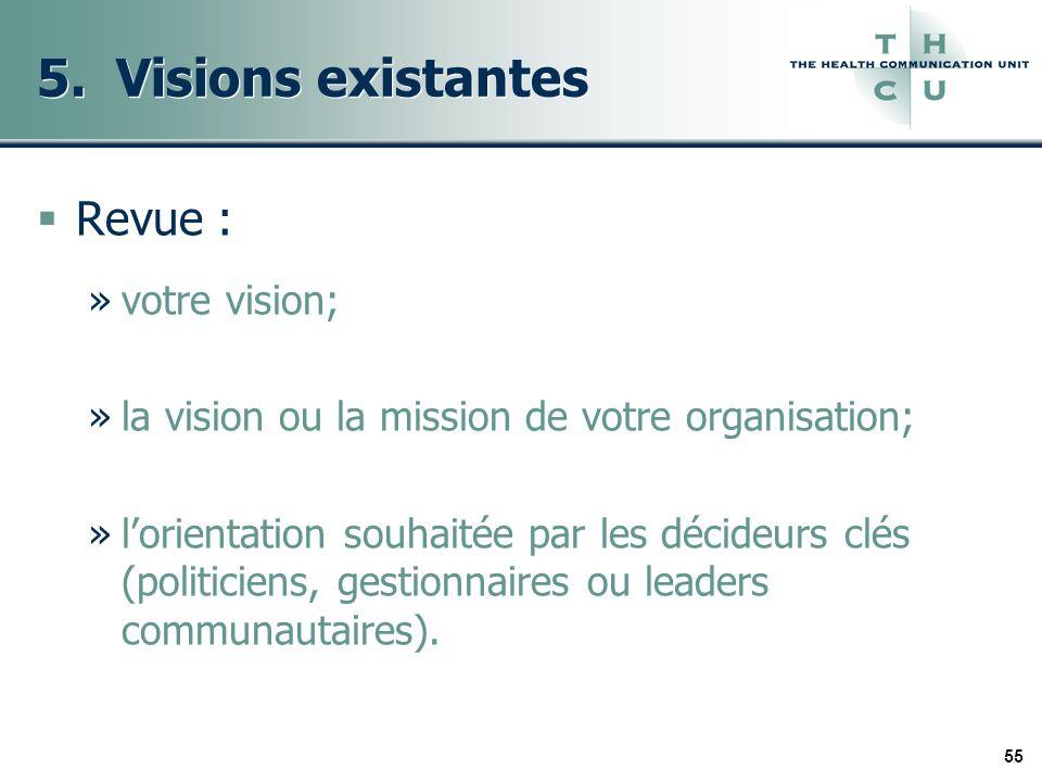 55 5. Visions existantes Revue : »votre vision; »la vision ou la mission de votre organisation; »lorientation souhaitée par les décideurs clés (politi