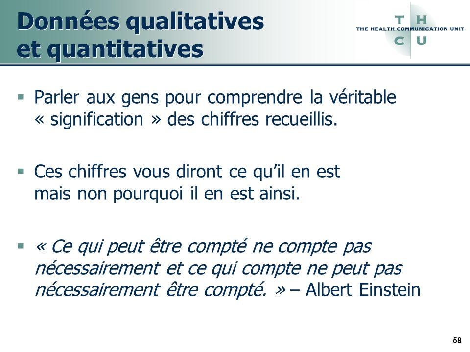 58 Données qualitatives et quantitatives Parler aux gens pour comprendre la véritable « signification » des chiffres recueillis.