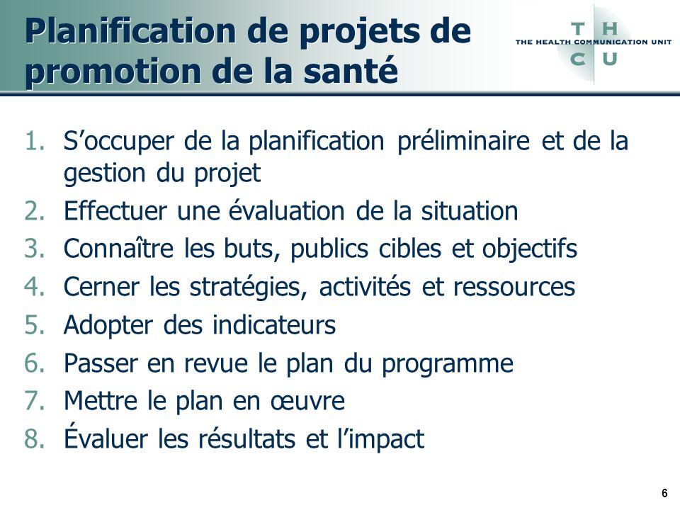 6 Planification de projets de promotion de la santé 1.Soccuper de la planification préliminaire et de la gestion du projet 2.Effectuer une évaluation