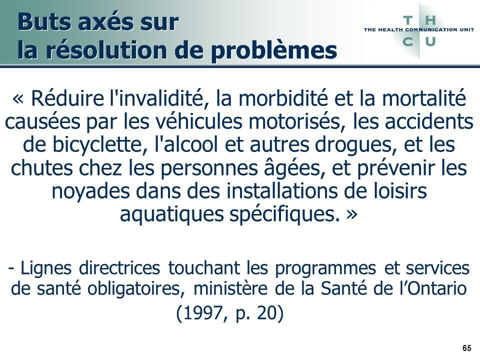 65 Buts axés sur la résolution de problèmes « Réduire l'invalidité, la morbidité et la mortalité causées par les véhicules motorisés, les accidents de