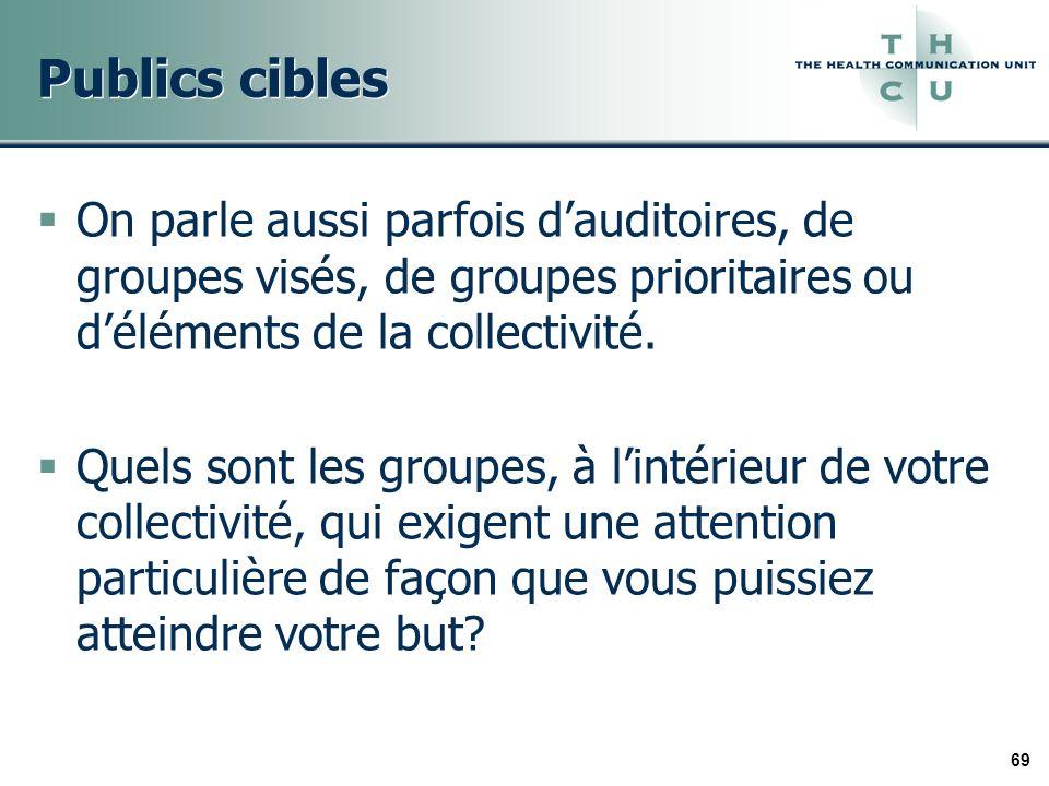 69 Publics cibles On parle aussi parfois dauditoires, de groupes visés, de groupes prioritaires ou déléments de la collectivité.