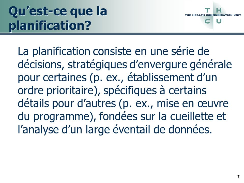 18 Modèle fondé sur les besoins et limpact Il sagit dune démarche de planification systématique qui a été élaborée par le conseil régional de santé de Toronto (1996).