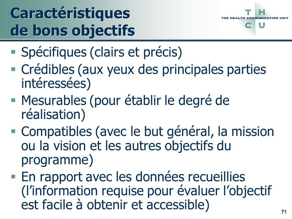 71 Caractéristiques de bons objectifs Spécifiques (clairs et précis) Crédibles (aux yeux des principales parties intéressées) Mesurables (pour établir