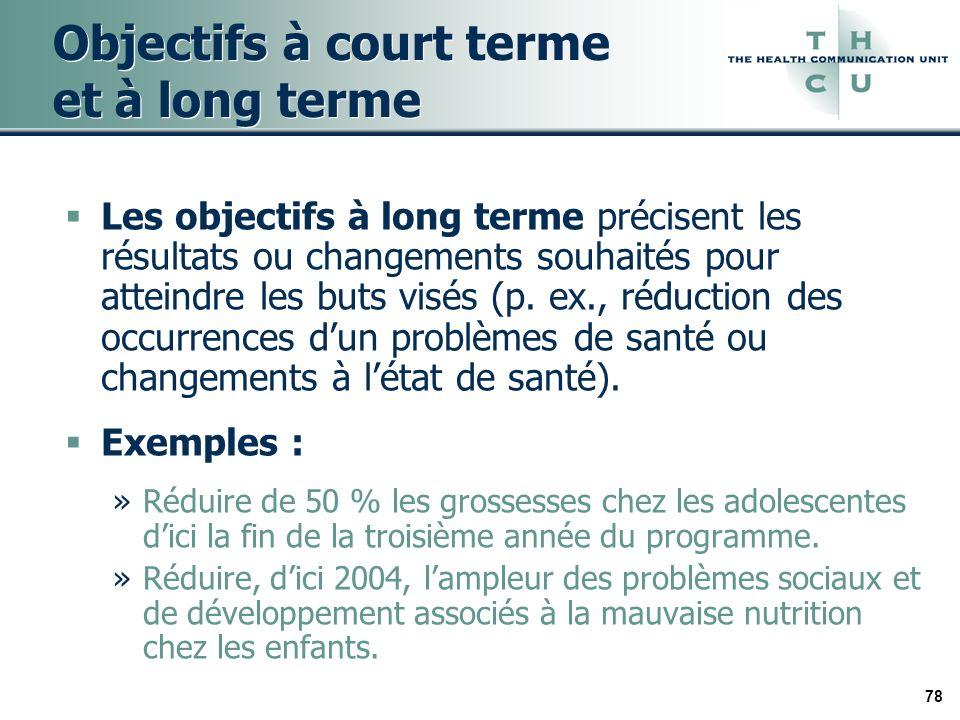 78 Objectifs à court terme et à long terme Les objectifs à long terme précisent les résultats ou changements souhaités pour atteindre les buts visés (