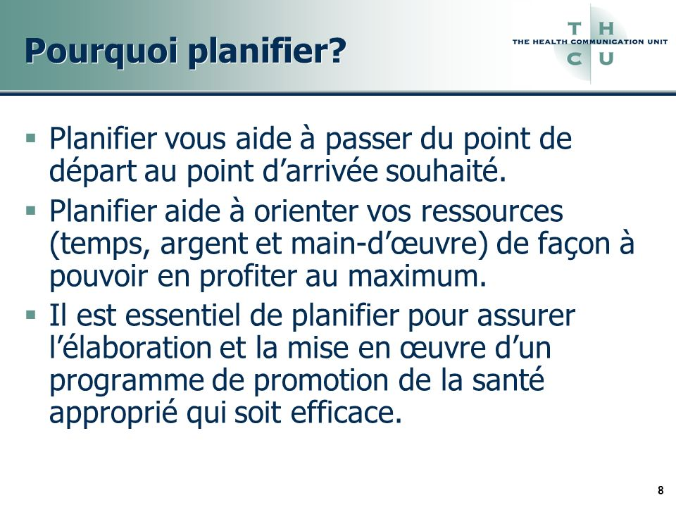 29 Facteurs clés pour la gestion de la planification 1.Participation 2.Durée 3.Argent et ressources 4.Cueillette de données 5.Prise de décisions
