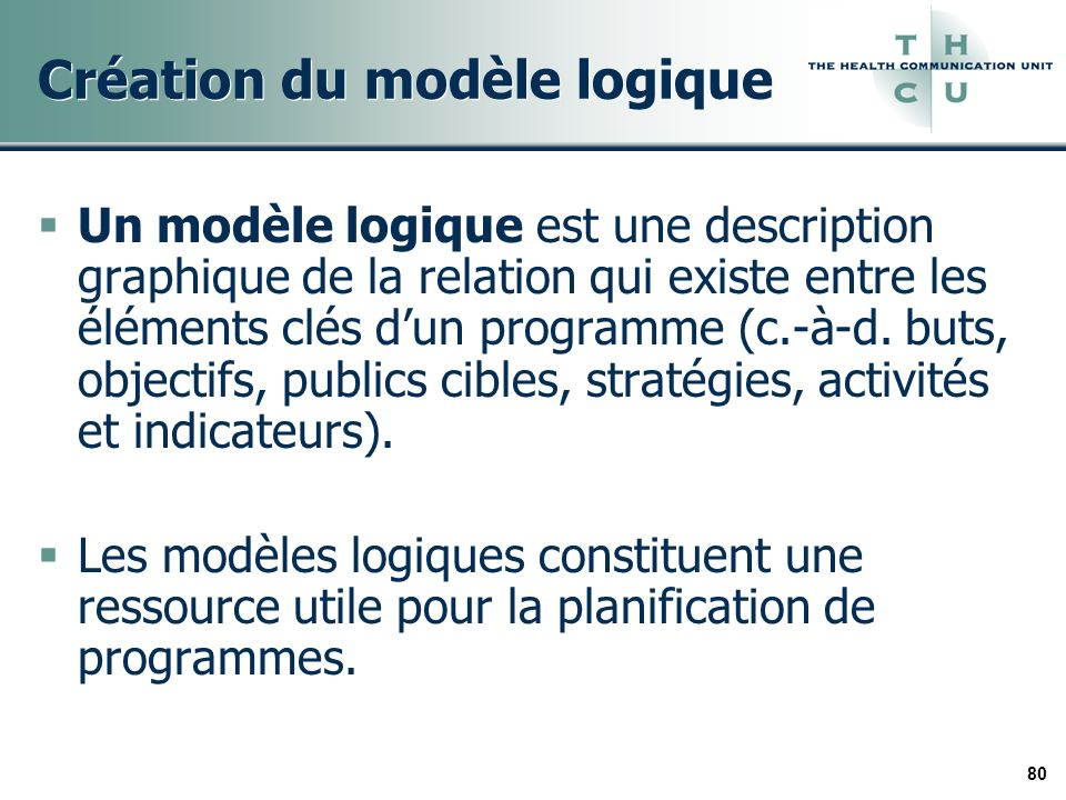 80 Création du modèle logique Un modèle logique est une description graphique de la relation qui existe entre les éléments clés dun programme (c.-à-d.