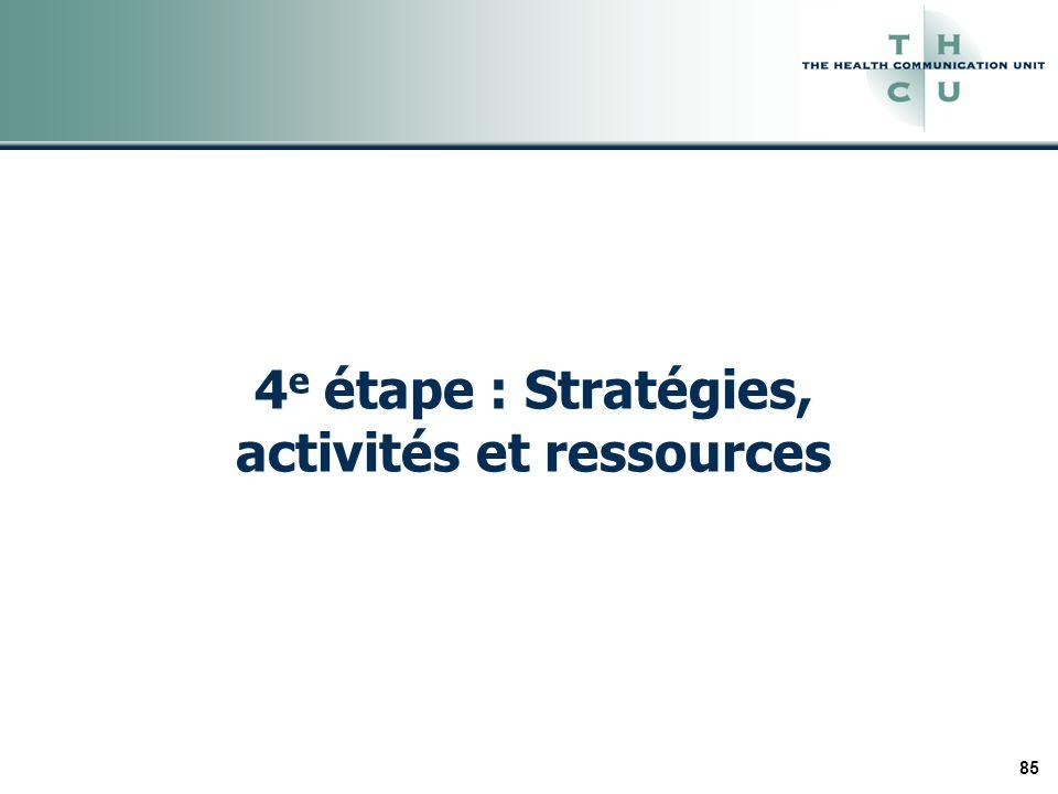85 4 e étape : Stratégies, activités et ressources