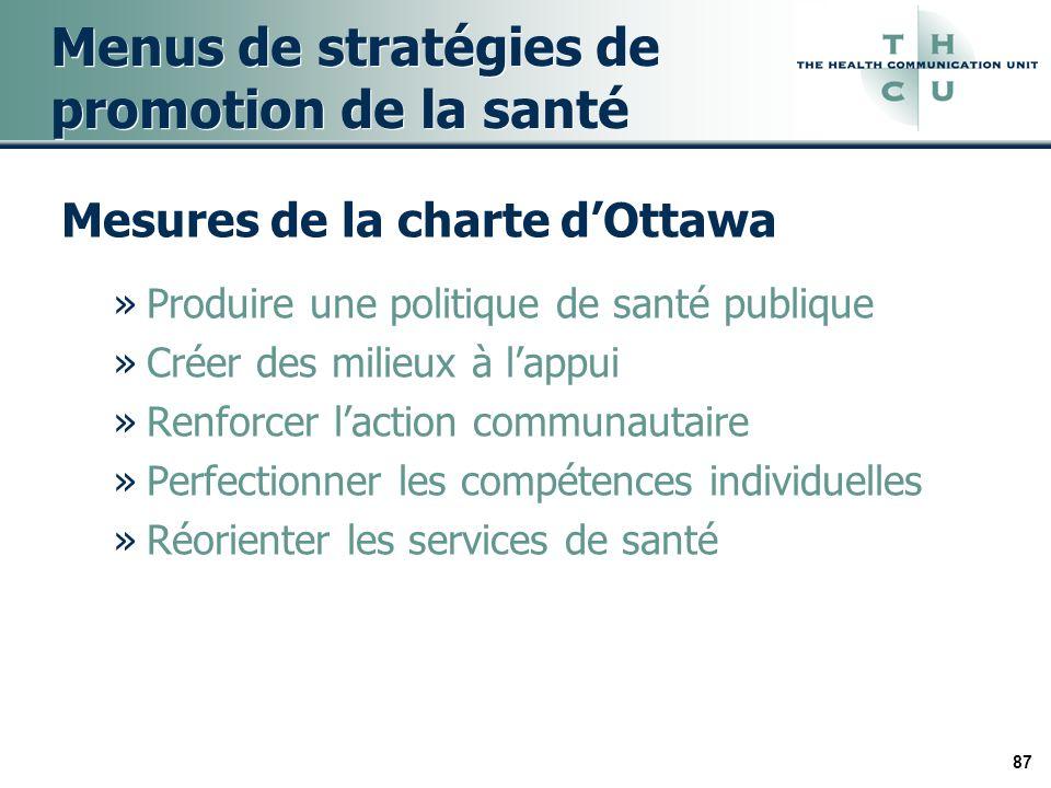 87 Menus de stratégies de promotion de la santé Mesures de la charte dOttawa »Produire une politique de santé publique »Créer des milieux à lappui »Renforcer laction communautaire »Perfectionner les compétences individuelles »Réorienter les services de santé