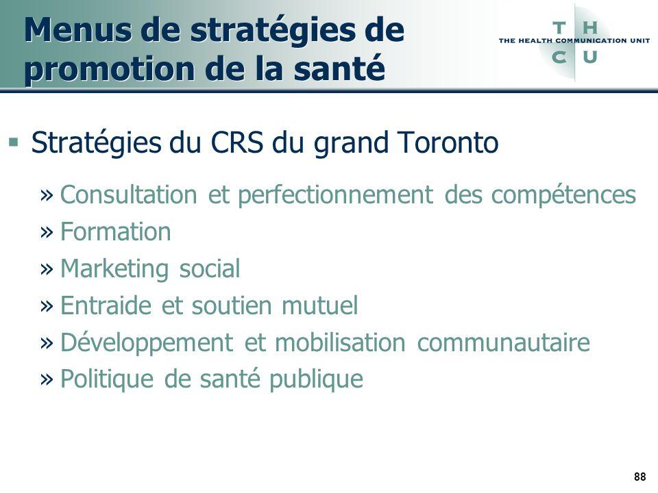 88 Menus de stratégies de promotion de la santé Stratégies du CRS du grand Toronto »Consultation et perfectionnement des compétences »Formation »Marke