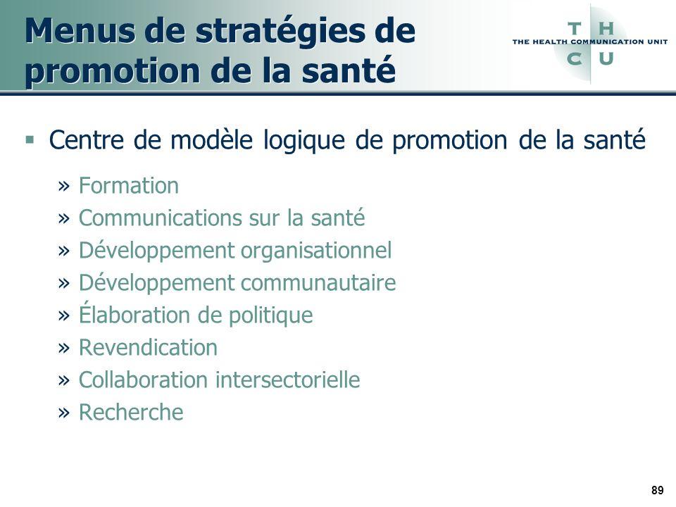 89 Menus de stratégies de promotion de la santé Centre de modèle logique de promotion de la santé »Formation »Communications sur la santé »Développement organisationnel »Développement communautaire »Élaboration de politique »Revendication »Collaboration intersectorielle »Recherche