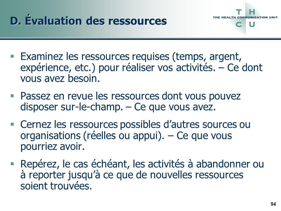 94 D. Évaluation des ressources Examinez les ressources requises (temps, argent, expérience, etc.) pour réaliser vos activités. – Ce dont vous avez be