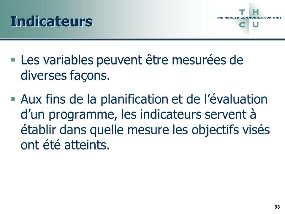 98 Indicateurs Les variables peuvent être mesurées de diverses façons. Aux fins de la planification et de lévaluation dun programme, les indicateurs s