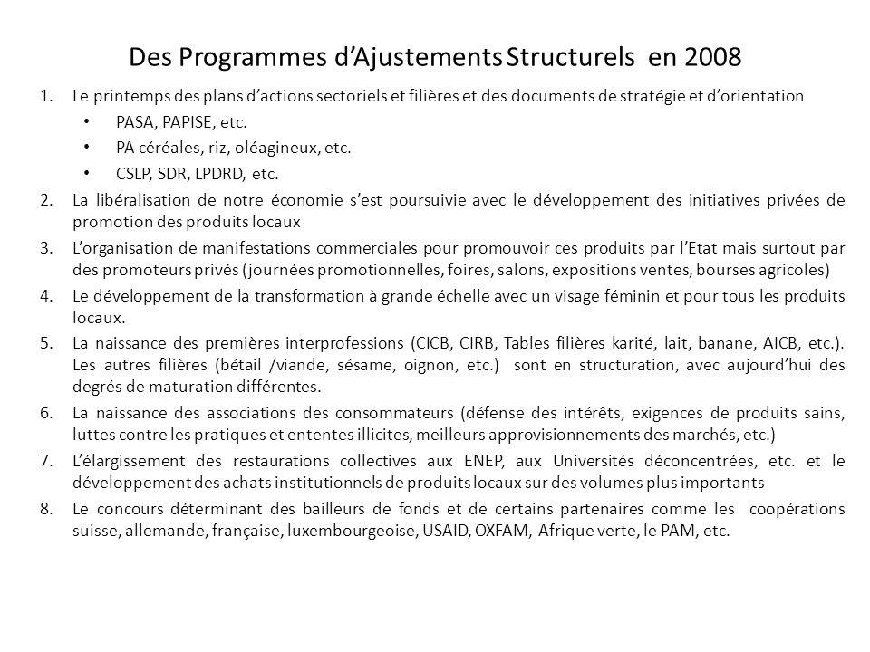 Des Programmes dAjustements Structurels en 2008 1.Le printemps des plans dactions sectoriels et filières et des documents de stratégie et dorientation