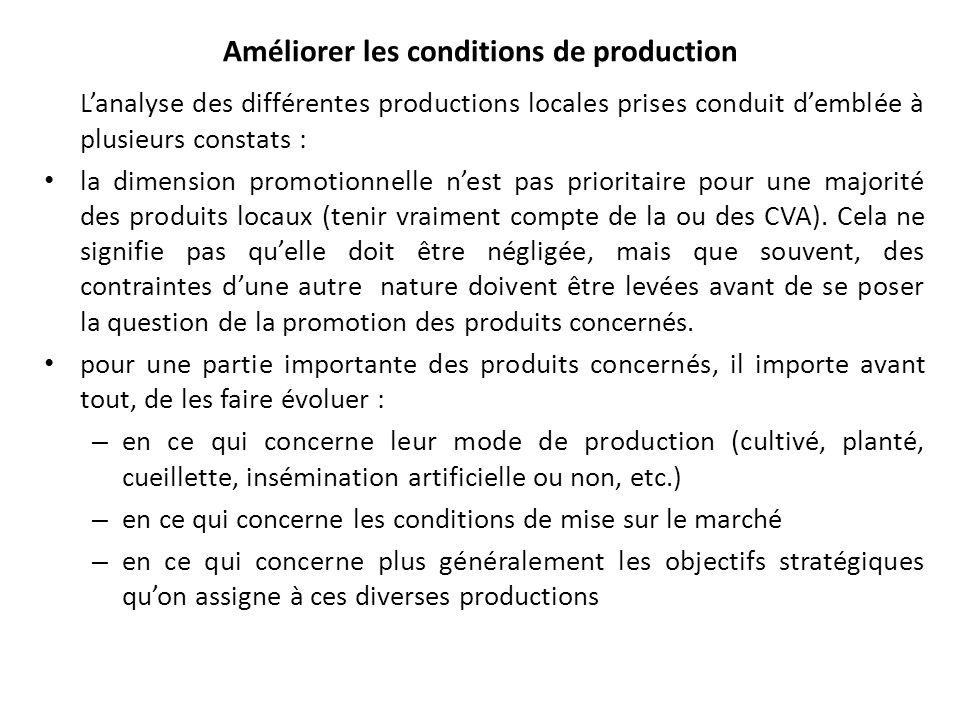 Améliorer les conditions de production Lanalyse des différentes productions locales prises conduit demblée à plusieurs constats : la dimension promoti