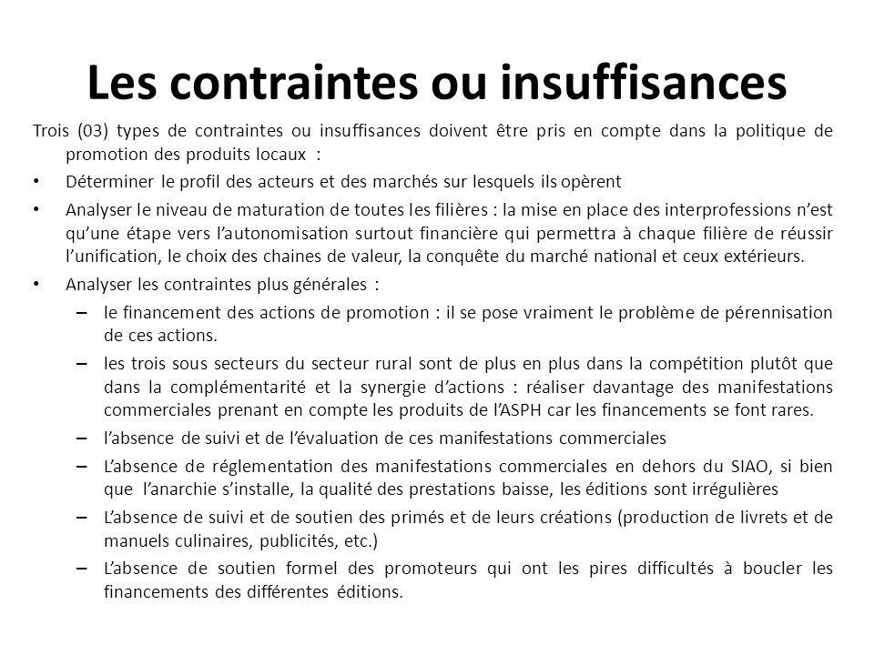 Les contraintes ou insuffisances Trois (03) types de contraintes ou insuffisances doivent être pris en compte dans la politique de promotion des produ
