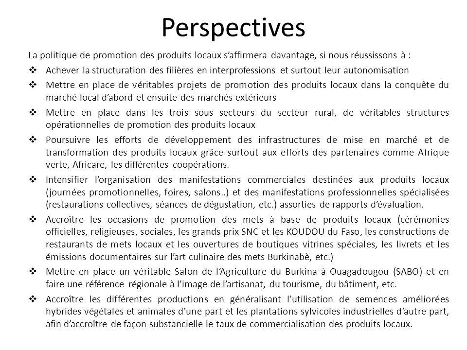 Perspectives La politique de promotion des produits locaux saffirmera davantage, si nous réussissons à : Achever la structuration des filières en inte