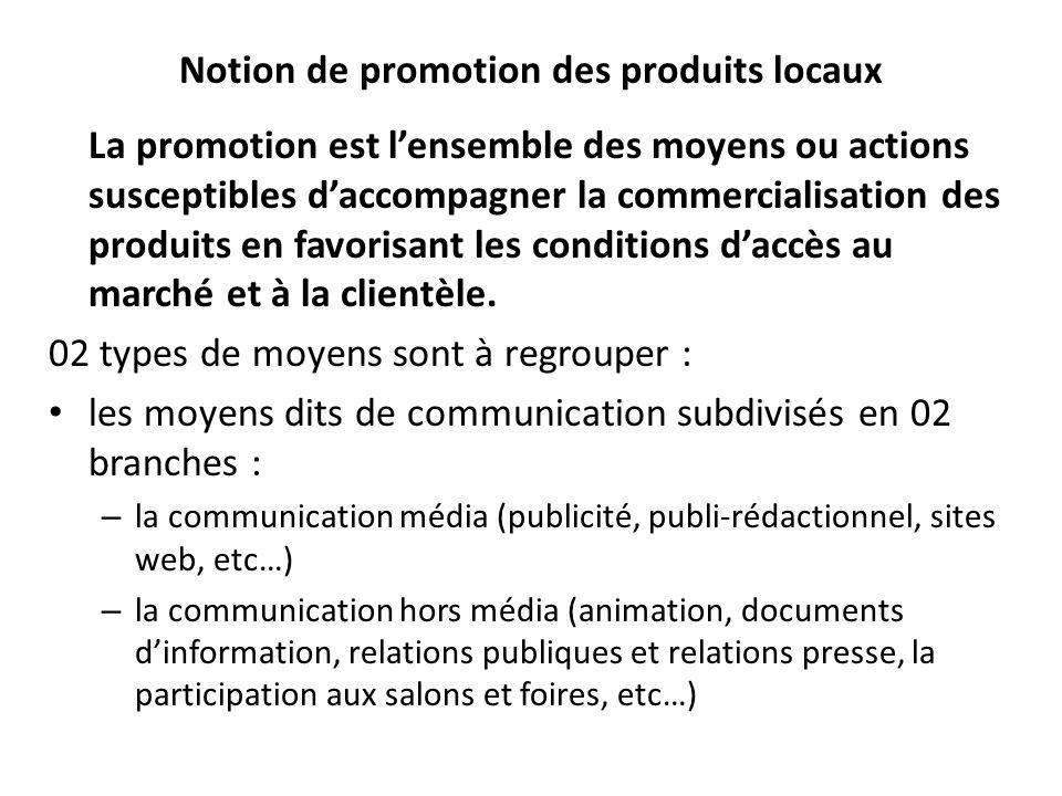 Notion de promotion des produits locaux La promotion est lensemble des moyens ou actions susceptibles daccompagner la commercialisation des produits e