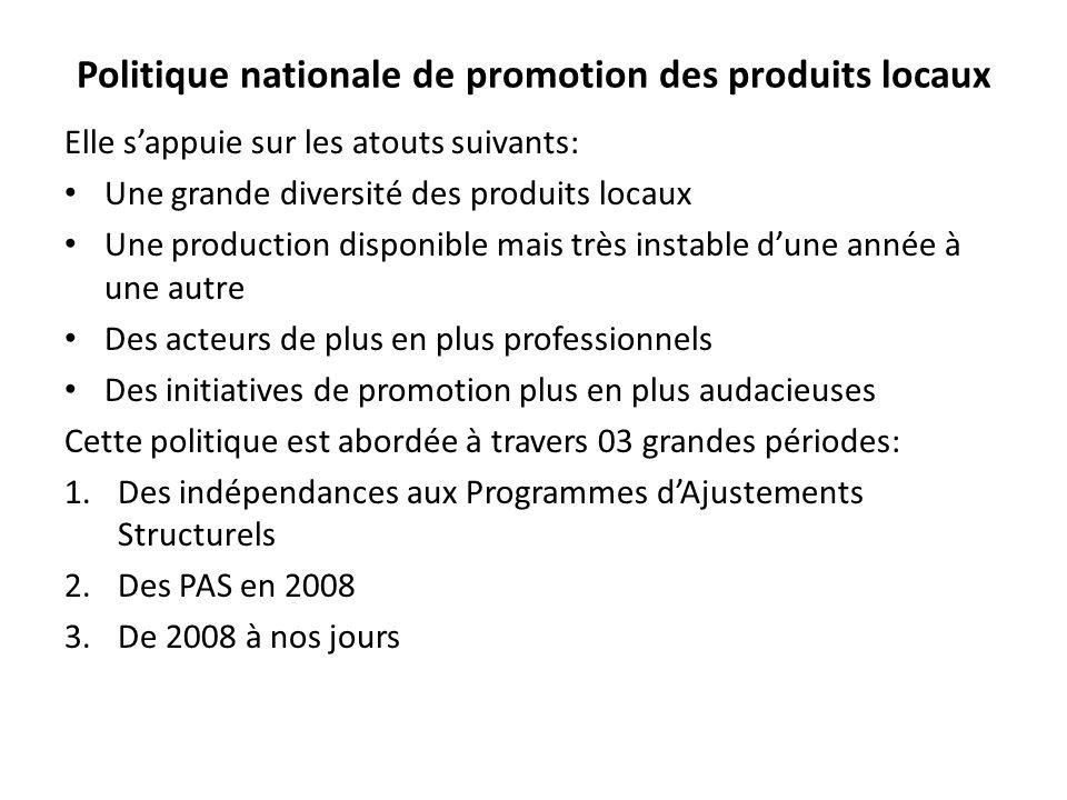 Politique nationale de promotion des produits locaux Elle sappuie sur les atouts suivants: Une grande diversité des produits locaux Une production dis