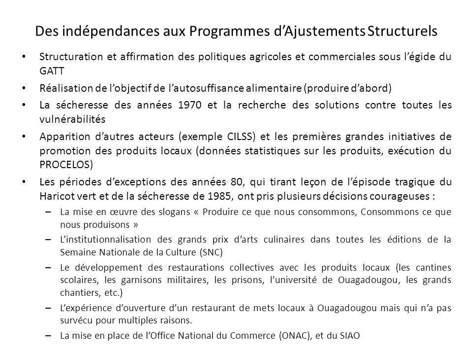 Des indépendances aux Programmes dAjustements Structurels Structuration et affirmation des politiques agricoles et commerciales sous légide du GATT Ré