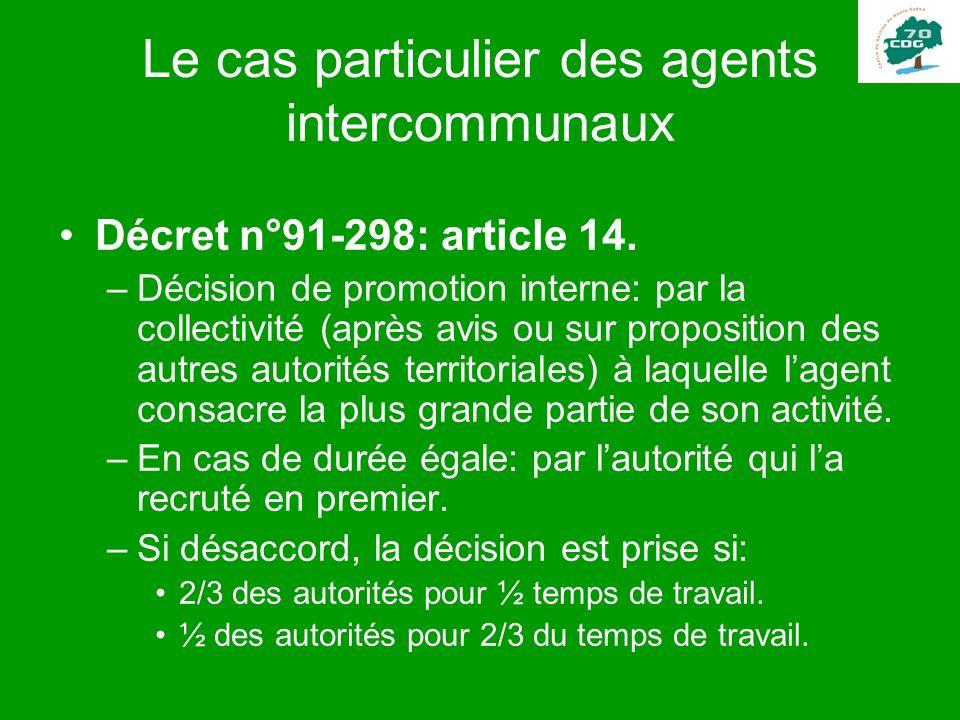 Le cas particulier des agents intercommunaux Décret n°91-298: article 14. –Décision de promotion interne: par la collectivité (après avis ou sur propo