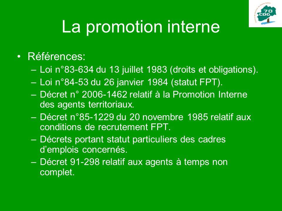 La promotion interne Références: –Loi n°83-634 du 13 juillet 1983 (droits et obligations). –Loi n°84-53 du 26 janvier 1984 (statut FPT). –Décret n° 20