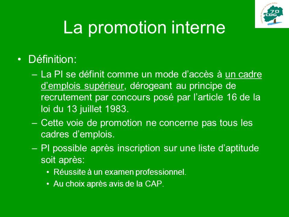 La promotion interne Définition: –La PI se définit comme un mode daccès à un cadre demplois supérieur, dérogeant au principe de recrutement par concou
