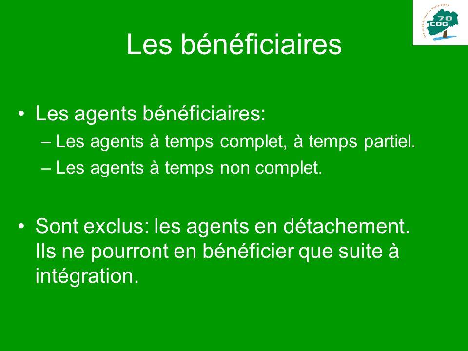Les bénéficiaires Les agents bénéficiaires: –Les agents à temps complet, à temps partiel. –Les agents à temps non complet. Sont exclus: les agents en